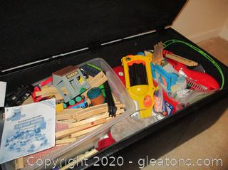 Toy Lot includes Thomas Tank Engine Wooden Track and Accessories, Nurf style gun