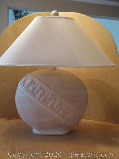 Unique Large Plaster Table Lamp with Shade