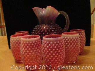 Cranberry Opalescent Hobnail Set