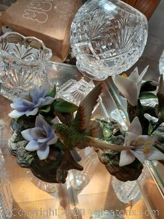 Porcelain Hummingbirds & Lead Crystal - 4 Piece Lot