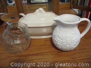 3 Piece Ceramic/Glass Serving Sets