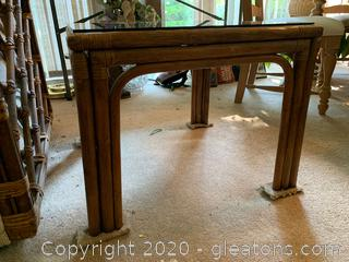Rattan Glass Top Side Table
