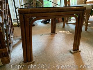 Rattan Glass Top Side Table