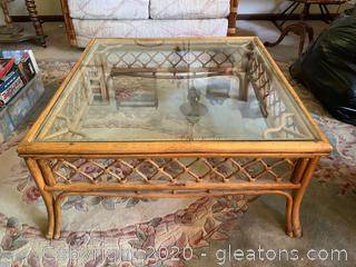 Rattan Square Glass Top Coffee Table