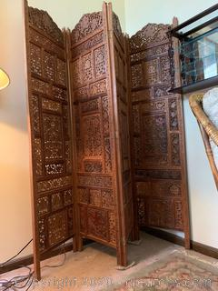 Vintage Wooden Heavily Carved Screen