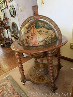 Latin En-scripted Wood Globe which Converts to a Bar