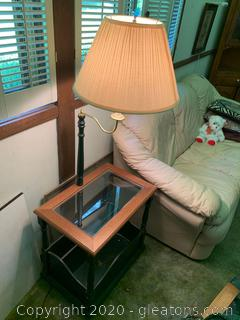 Side Table with Lamp and Magazine Rack