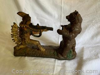 JE Stevens Indian Shooting Bear Iron Mechanical Bank