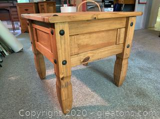 Mexican Rustic Wood Side Table