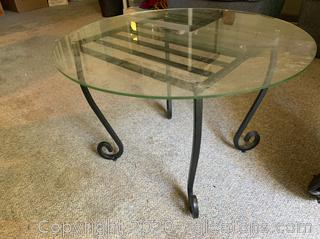 Wrought Iron Glass Top Side Table