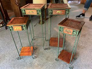 Set of 4 Wicker/Iron Side Tables
