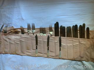 Harrison Brothers + Howson Antique Mother of Pearl Handle Knives+Forks