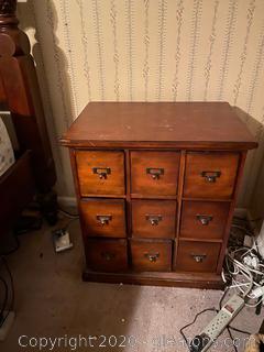 Vintage 9 Drawer File Cabinet (A)