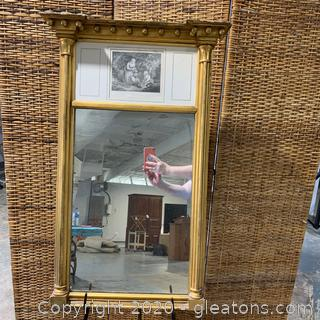 Antique Mirror with Engraving by J.Bannister