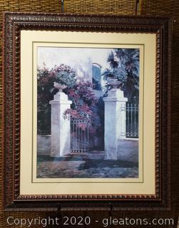 Framed Art- Gate with Flowers