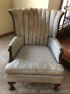 "Vintage 1950's Channel Back Upholstered Chair ""A"""