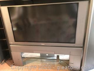 "50"" Hitachi Floor Model Rear Screen Tv on stand"
