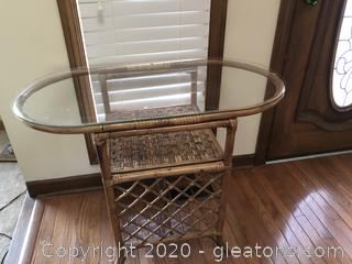 Vinbtage Cane Oval Console Table with Shelf