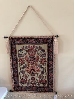 Vintage Floral Tapestry with Tassel Rope