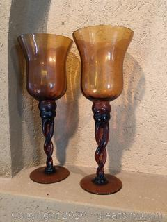"Pair of 13"" High Amber Colored Glass Hurricanes"