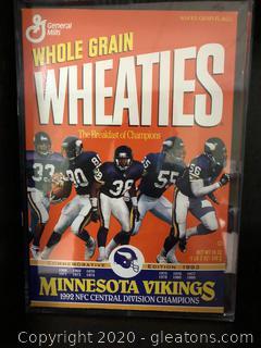 Wheaties Box in Acrylic Case 1992 NFC Champs Minnesota Vikings
