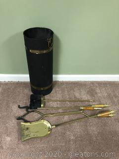 Metal and Brass Umbrella Stand and Fireplace Set