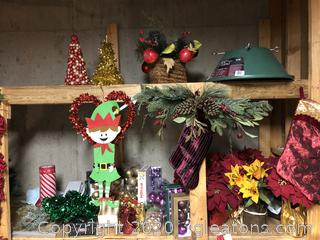 Lot of Christmas Greenery, Ornament, and Pointsettias