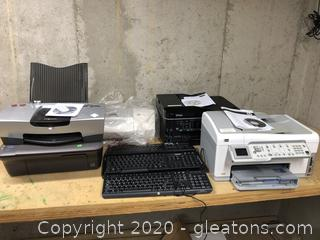 Lot of Printers and keyboards