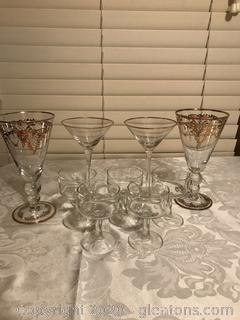 Lot of Crystal Bar glasses with gld trim