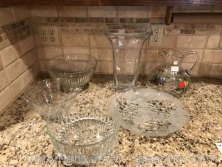 lot of glass serving ware