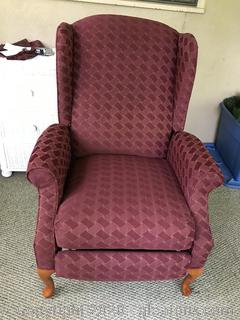 Burgundy Wingback Recliner Chair