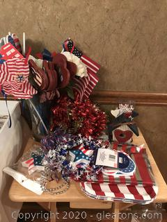 Lot of Red, White, and Blue Fun Decorations