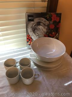Lot of White Dishes and Mikasa Platter