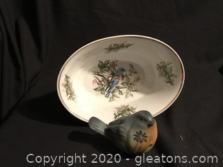 Blue Bord Bowl , hand painted Ganz Bird Figurine