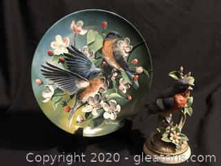 Blue Bird Plate Bird Figure