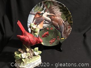 Cardinal bird Figure, Cedar Waxwing Plate