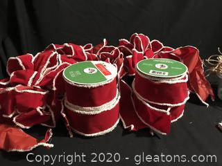 4 Rolls of red Ribbon white Edge, 4 pre-made Bows