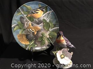Warbler Figure and Bird Plate