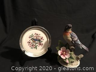 Warbler Bird by Andrea/Sadat. Silver plate coaster