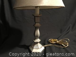 Silver colored table lamp