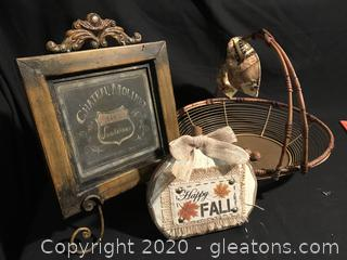 Happy fall sign, wine sign and wire fall basket