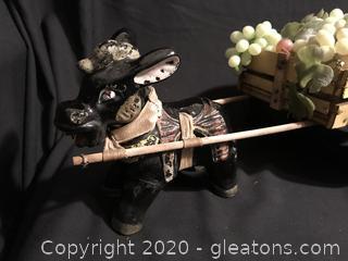 Vintage Donkey Pulling Wooden Cart