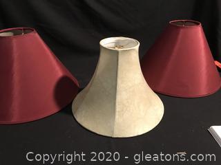 Three lamp shades