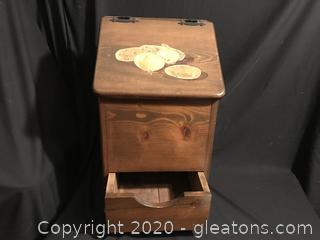 All Wood Potato-onion Box with drawer