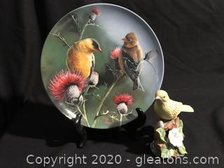 Goldfinch plate and figure