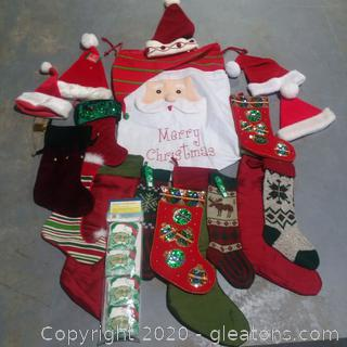 Collection of Christmas Stockings and Hats