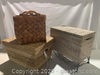Woven Baskets and Chest
