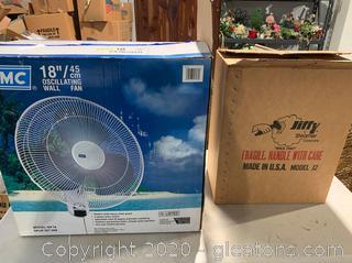 "Jiffy Steamer & 18"" Oscillating Wall Fan"