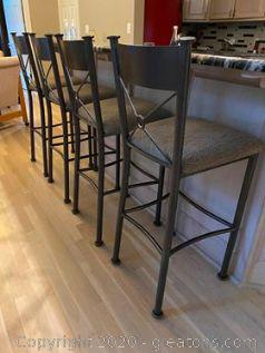 4 Nice Metal Bar Stools with Upholstered Seats