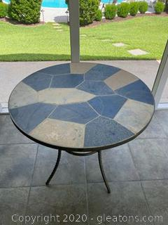 Slate and Tile Table with 2 Chairs